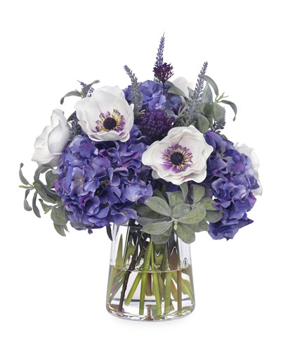 Faux Lavender, Lamb's Ear, and Anemone in Glass Vase