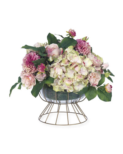 Faux Pink Roses & Dahlia in Wire Cage Compote