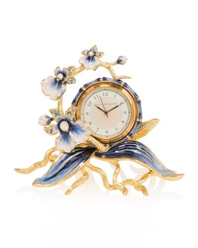 Indigo Orchid Clock