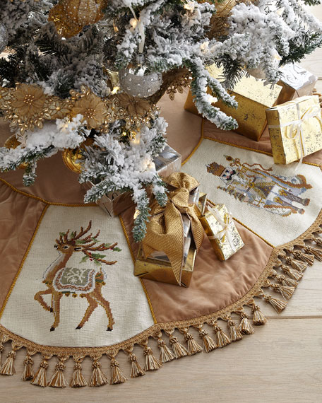 Image 1 of 1: Gold Santa Series Christmas Tree Skirt with Tassels