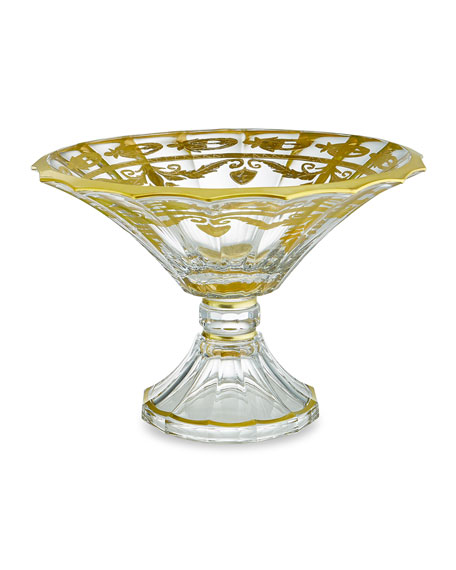 Image 1 of 1: Vetro Gold Scalloped Footed Bowl