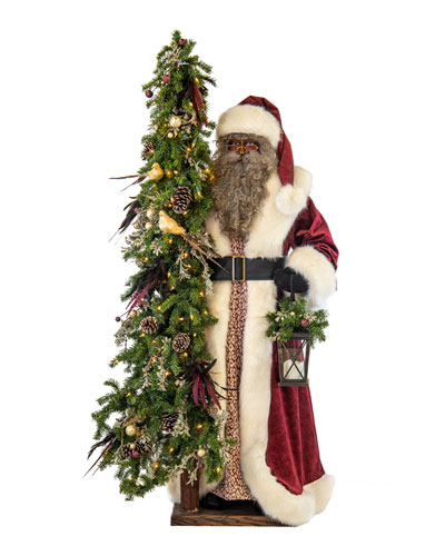 Plum Wine Holiday Black Santa with Lighted Christmas Tree, 57