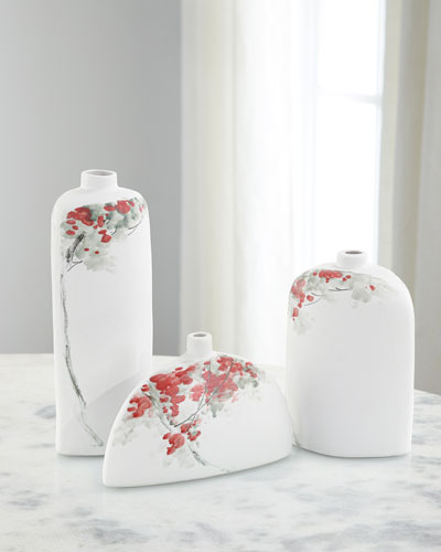Cherry Blossoms on White Porcelain Vases, Set of 3