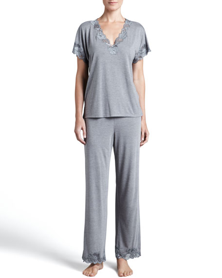 Zen Floral-Trim Pajamas, Women's, Heather Gray