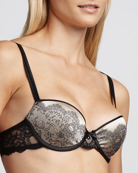 Paris Satin-Jacquard T-Shirt Bra, Black/Nude