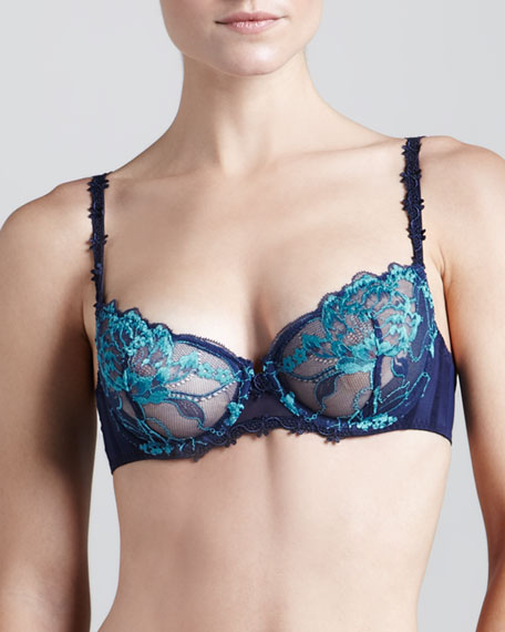 Amour Lace Demi Bra, Navy/Peacock