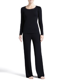 Feathers Long-Sleeve Pajama Set, Black