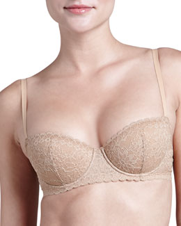 Rosa Floral-Lace Push-Up Plunge Bra, Nude