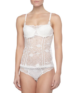 Opera Lace Bustier-Style Camisole, Black