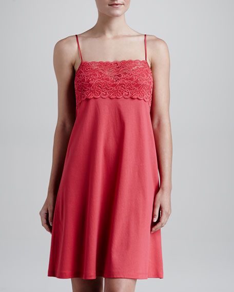 Moments Lace-Bust Nightgown, Tomato
