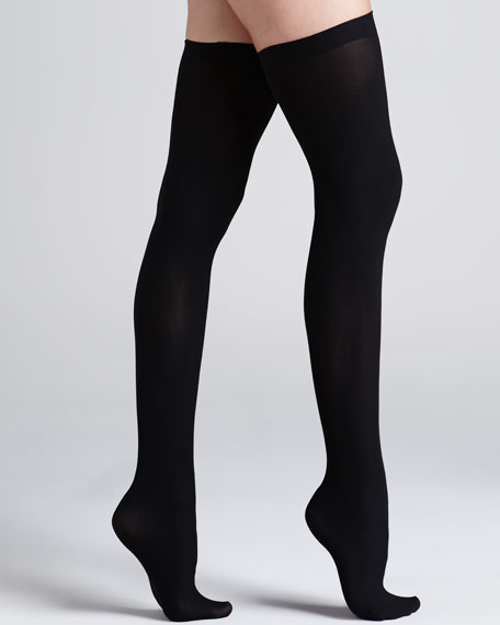 Up All Night Opaque Thigh Highs, Black