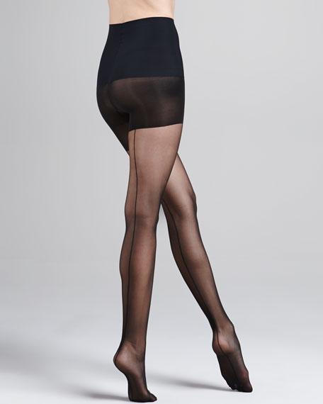 Cabaret Seam Sheer Control-Top Tights, Black