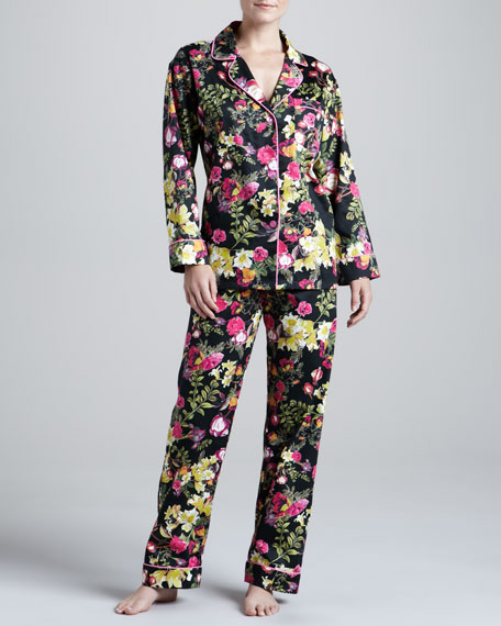 Noir Secret Garden Sateen Pajamas