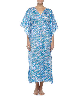 Natori Fleur Long Lounge Caftan, Maritime Blue, Women's