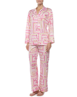 Natori Cube-Print Notch Pajama, Hot Pink