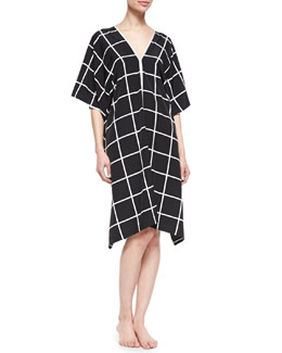 Natori Windowpane-Print V-Neck Lounge Caftan
