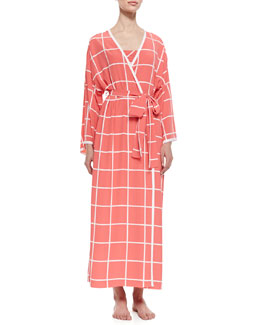 Natori Windowpane Print Long-Sleeve Wrap Robe, Sunset