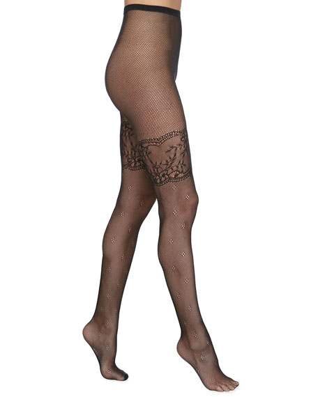 Lace-Border Fishnet Tights by Pretty Polly