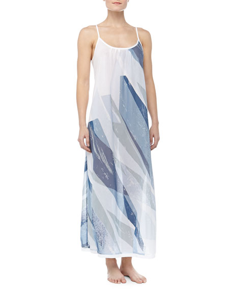 Batiste Geometric Print Long Gown, Shattered Quartz