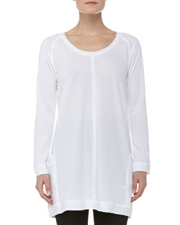 Donna Karan Long-Sleeve Soft Jersey Sleepshirt, White