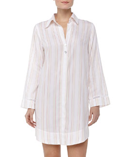 Oscar de la Renta Striped Cotton Sleepshirt, Orange Stripe