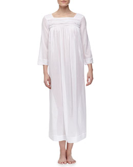 Oscar de la Renta Sheer Serenity Long-Sleeve Cotton Lawn Nightgown