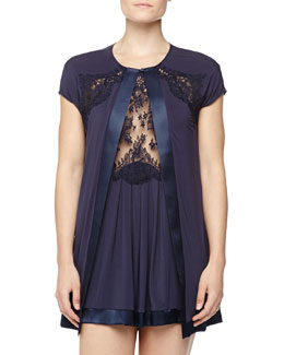 Pizzo Lace-Trim Open Robe