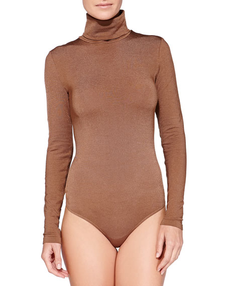 Colorado String Long-Sleeve Turtleneck Bodysuit, Bison