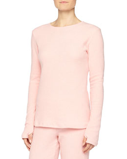 Aosta Long-Sleeve Fleece Top, Rosa Sorbetto
