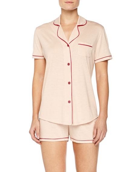 Bella Boxer-Short Jersey Pajama Set, Pinolo/Bright Grenadine