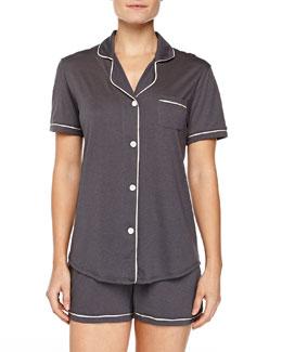 Bella Boxer-Short Jersey Pajama Set, Anthracite/Ivory