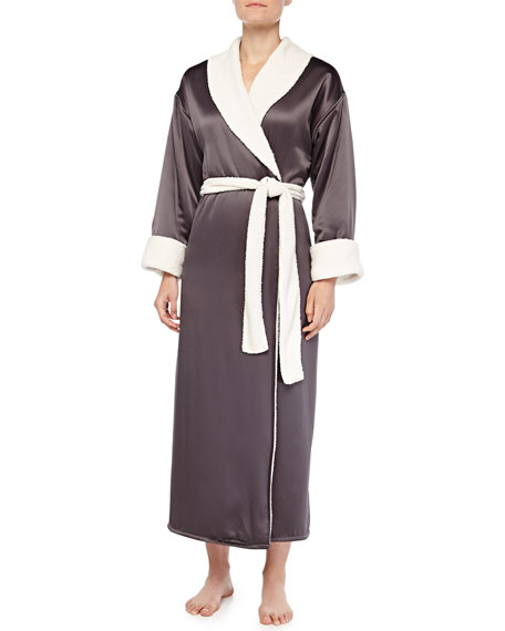 faux-sherpa-lined-charmeuse-long-robe,-gunmetal by natori