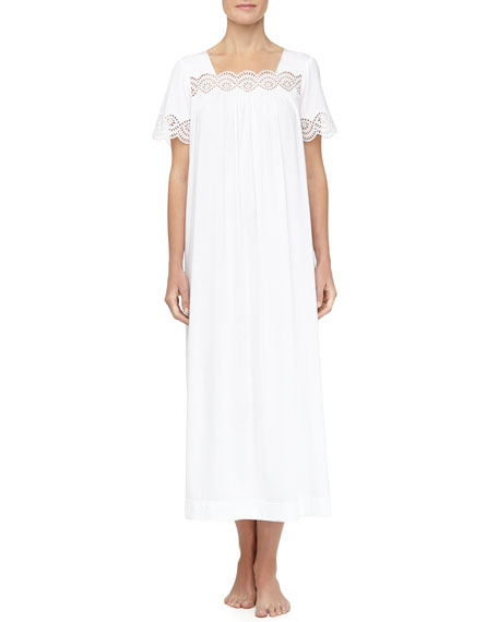 Scalloped Eyelet Trimmed Long Nightgown, Signature White