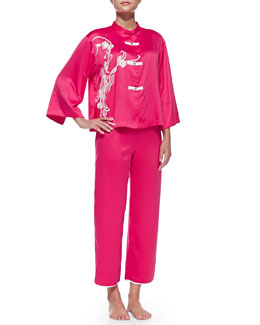 Mandarin Embroidered Silky Charmeuse Pajama Set, Pink