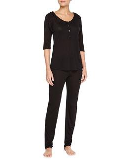 Silver Begonia Lace-Ruffle Trimmed Pajama Set, Black