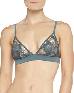 Rete Honeycomb Crochet Soft Bra, Blue