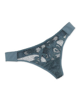 Rete Honeycomb Crochet Thong, Blue