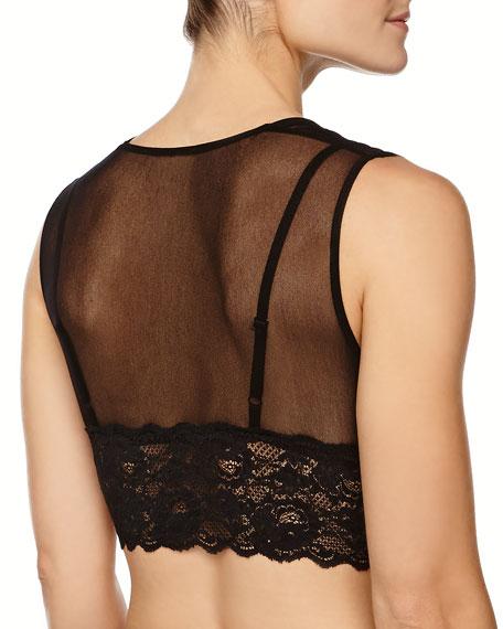 Vintage Mesh Lace Crop Top, Black