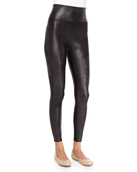d1477ed960ed12 Spanx Distressed Faux-Leather Leggings, Black