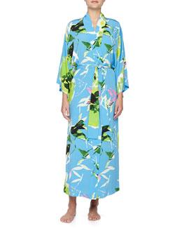 Lana Floral-Print Crepe De Chine Wrap Robe, Periwinkle