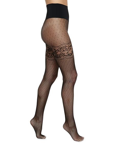 Heidi Faux Thigh-High Fishnet Tights, Black