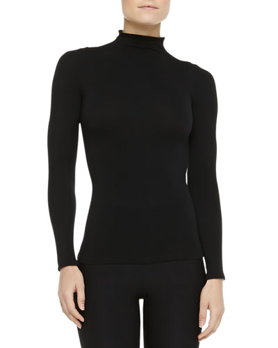 Ballet Body Mock Turtleneck Top, Black