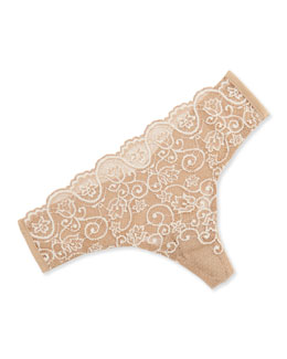 Double Take Cross-Dyed Lace Thong, Ivory
