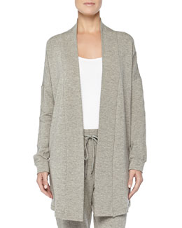 West Broadway French Terry Open-Front Cardigan, Griege Melange
