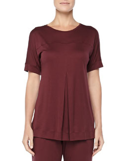 Tribeca Short-Sleeve Inverted-Pleat Top, Maroon