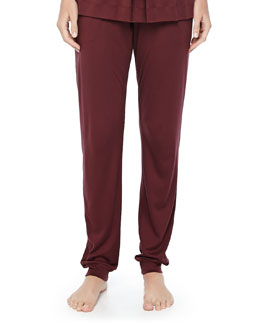 Tribeca Jersey Pleated Pants, Maroon