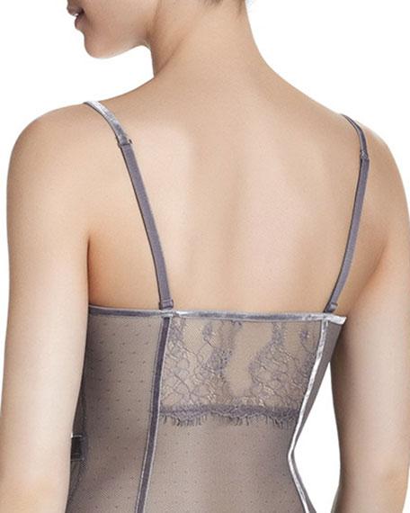 Velvet-Seamed Sheer Bodysuit, Gray