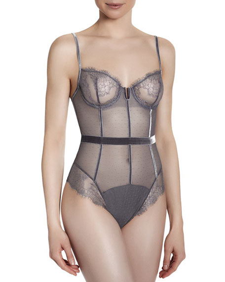 Velvet-Seamed Sheer Bodysuit, Gray