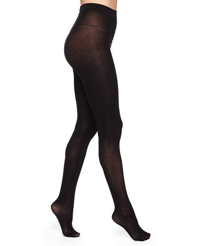Silk-Effect Cashmere-Blend Tights, Black