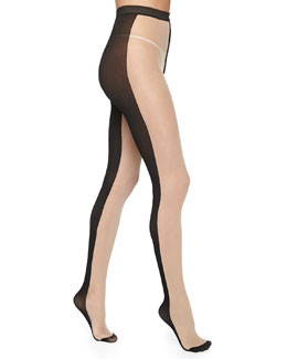 Front & Back Contrast Tights, Black/Nude